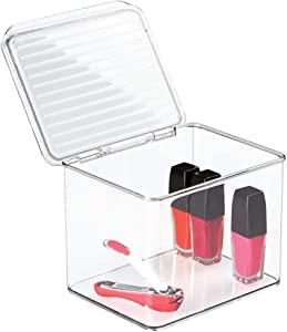 """mDesign Small Makeup Storage Organizer Box, Lid - for Bathroom Vanity, Countertops, Drawers - Holds Blenders, Eyeshadow Palettes, Lipstick, Lip Gloss, Makeup Brushes - 6.6"""" Wide - Clear"""