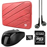 VanGoddy Jam Series Bubble Padded Striped Sleeve for Fujitsu LifeBook / CELSIUS 15.6-inch Laptops (Pink) + USB Mouse + Black VG Headphones + 16GB Memory Card