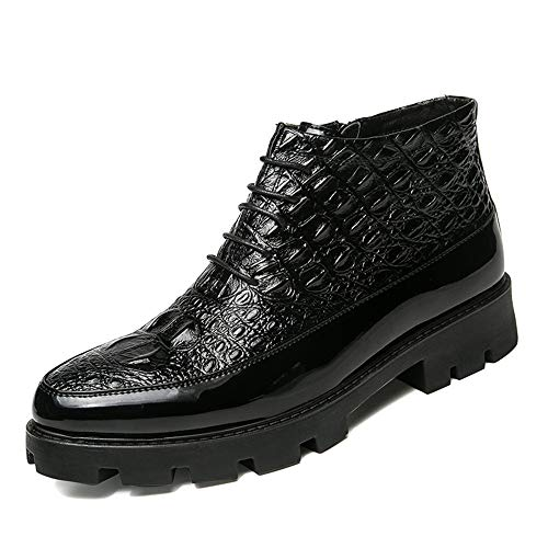 Hilotu Clearance Fashion Men's Ankle Boots Casual Avant-Garde High-Top Crocodile Tattoo Trend Patent Leather Formal Shoes (Color : Black, Size : 9.5 D(M) US)