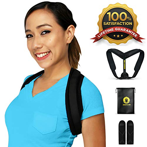 Posture Corrector for Women Men - EFFECTIVE, DISCREET, COMFORTABLE Braces, EASY ADJUSTABLE Upper Brace, Better BACK PAIN RELIEF, Shoulder Support, Scoliosis Hunchback Straightener, Fits 32-50 (S,M,L)