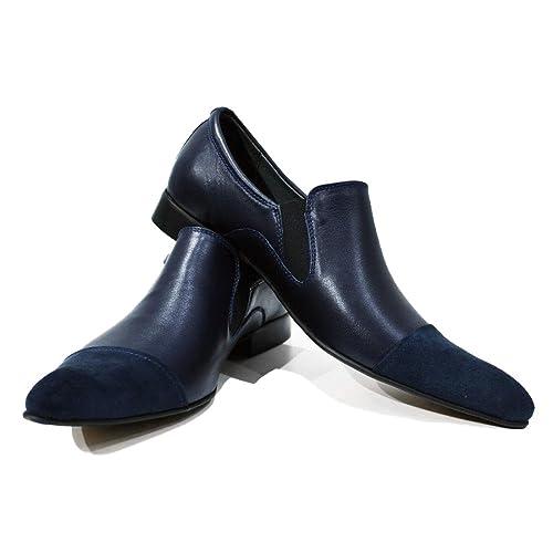 Modello Adria - Cuero Italiano Hecho A Mano Hombre Piel Azul Marino Mocasines y Slip-Ons Loafers - Piel de Becerro Cuero Suave - Ponerse: Amazon.es: Zapatos ...