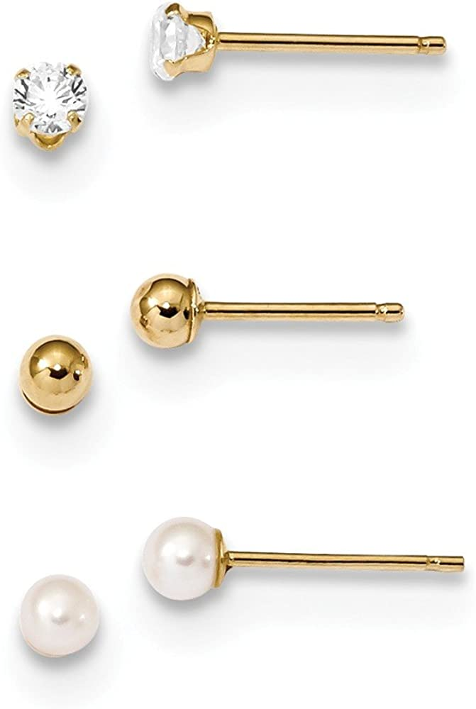14k Yellow Gold Ball Cubic Zirconia Cz Freshwater Cultured Pearl 3 Pair Post Stud Earrings Set Button Fine Jewelry For Women Gifts For Her