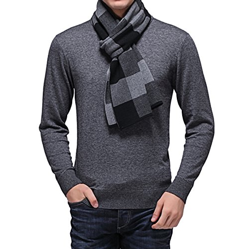 (Haseil Men's Warm Plaid Scarf Lightweight Checkered Cashmere Soft Winter Scarves, Grey)