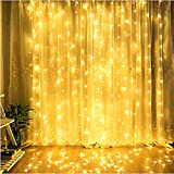 Alvinker New-Type Waterproof LED Window Curtain String Lights with Remote&Timer, for Garden, Bedroom, Wedding, Party Decorations. Outdoor/Indoor Use. UL FCC CE and RoHS Certified(Warm White)