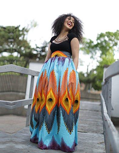 OFEEFAN Womens Sexy Floral African Print Wide Loose Fit Maxi Skirt M by OFEEFAN (Image #3)