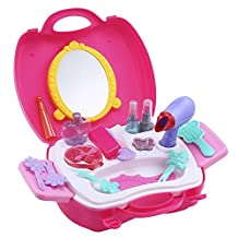 AutoLover 21pcs Children Makeup Tools Toy Set Pretend Play Kit for Little Girls Educational Toy,Christmas Gift
