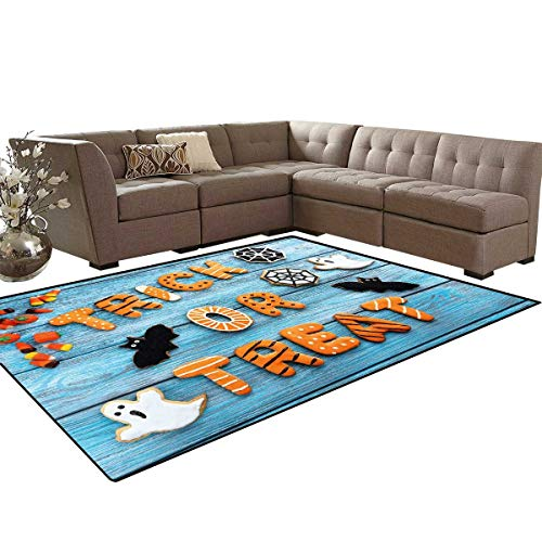 Halloween Bath Mats Carpet Fresh Trick or Treat Gingerbread Cookies on Blue Wooden Table Spider Web Ghost Girls Rooms Kids Rooms Nursery Decor Mats 5'x8' Multicolor