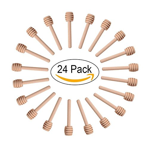 24 Pack Mini Wood Honey Dipper Sticks 3 Inch Individually Wr