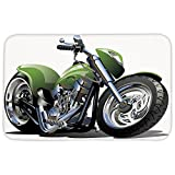 Rectangular Area Rug Mat Rug,Motorcycle,Motorcycle Design with Fancy Supreme Gears and Metal Tires Action Urban Life,Green Silver,Home Decor Mat with Non Slip Backing