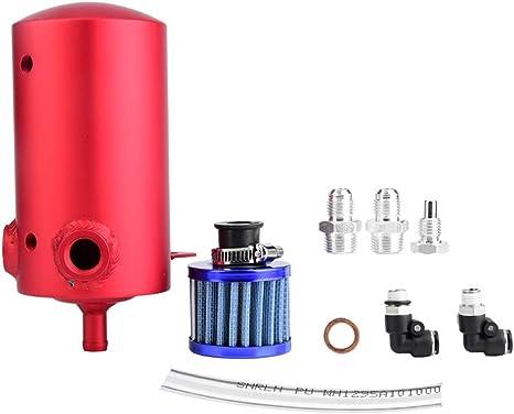 Qiilu Serbatoio di raccolta olio kit serbatoio tanica con filtro per serbatoio olio auto in lega di alluminio universale blu rosso con filtro