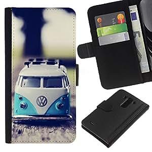A-type (Hippie Bus 70'S Weed Culture Van) Colorida Impresión Funda Cuero Monedero Caja Bolsa Cubierta Caja Piel Card Slots Para LG G3