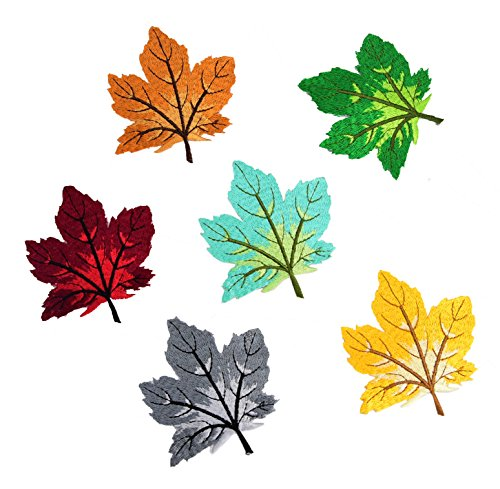 Ancefine Maple Leaves Patch Iron on Embroidered Applique for (Maple Leaf Applique)