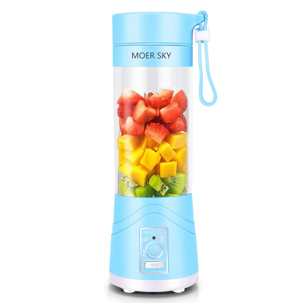 Portable Blender, Personal Smoothie Mini Mixer Juicer Cup, 380ml Fruit Mixing Machine with USB Recharging, Detachable, Office/Sports/Trip(Blue) by Moer Sky