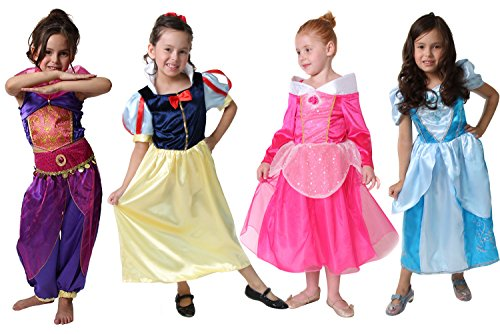 Classic Storybook Princess Dress 4 Pack Set (4/6, Blue/Purple/Hot Pink/Yellow and Red) -