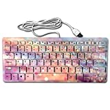 Liweiger Romantic Halo Mini Keyboard USB Wired Ultra Slim Light Portable Universal 78 Keys Notebook Computer PC Desktops Laptop