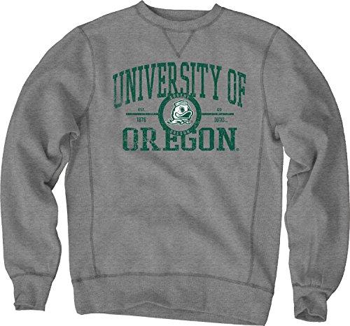 NCAA Oregon Ducks Sanded Fleece Crew Neck, Gunmetal, ()