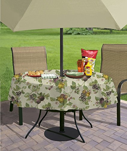 Fresco Fruit Flannel Backed Vinyl Tablecloth, 60-Inch by 84-Inch Oblong (Rectangle) with Umbrella Hole and (New Vinyl Tablecloth)