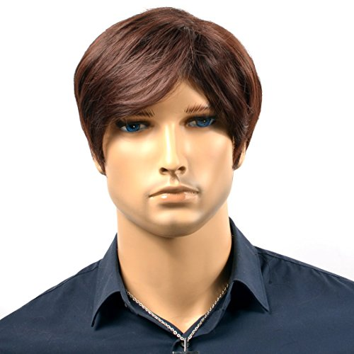 NIBOKA Cool Short Wavy Lace Front with Bangs Dark Brown Men Wigs Hair For Costume Halloween Cosplay Party Boy Friend's Father Gift -