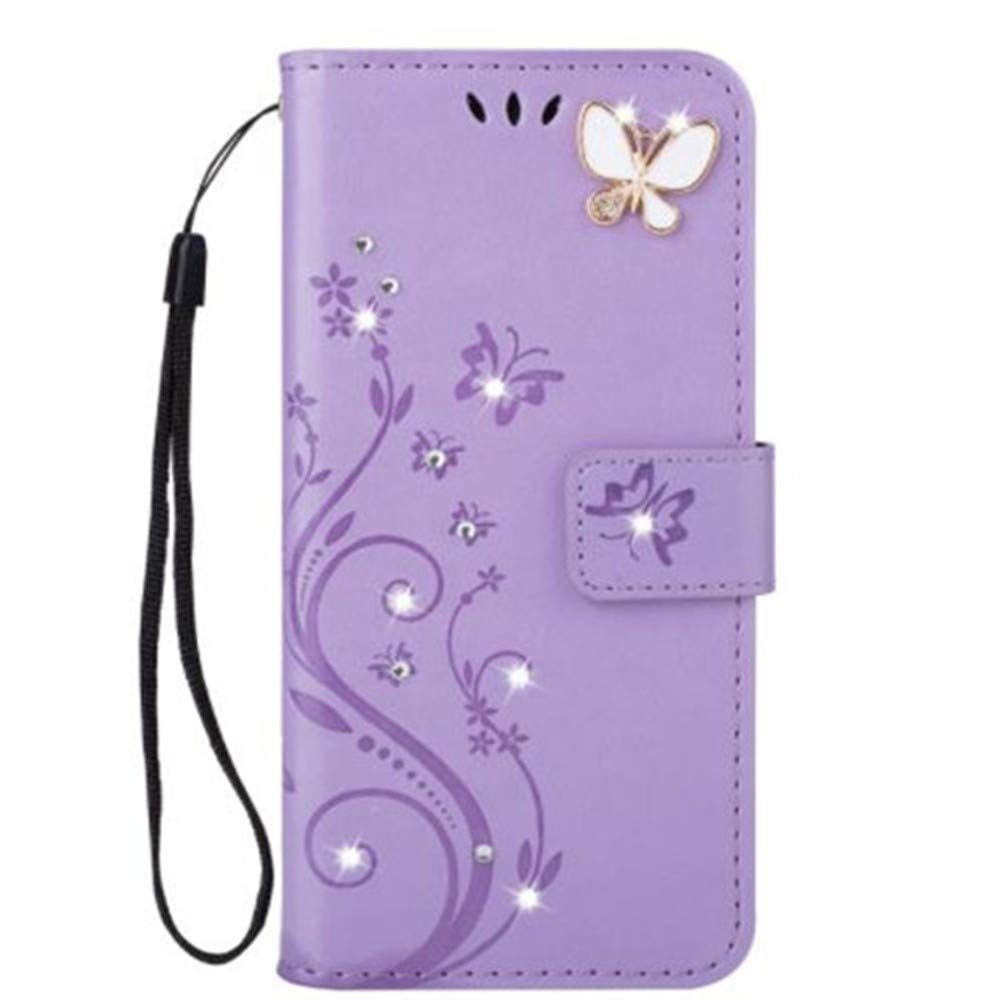 iPhone 11 Pro 5.8 Inch Wallet Case,Aulzaju iPhone 11 Pro Bling Handmade PU Leather Credit Card Cover iPhone 11 Pro Luxury Stylish Foldable Kickstand Case with Removable Strap for Girls Women Purple