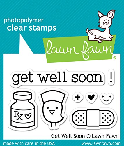 LF682 Lawn Fawn Clear Stamp - Get Well Soon - Clear Rubber Stamps