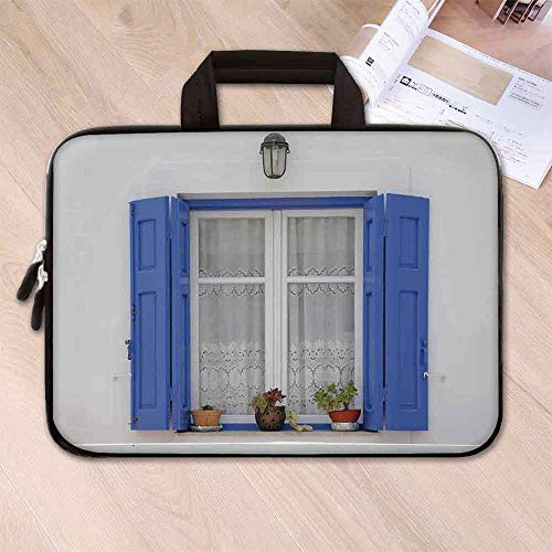 - Shutters Decor Anti Seismic Neoprene Laptop Bag,Typical Greek Style Wooden Window Shutters with Flowers Image Mediterranean Decor for Travel Office School,15.4''L x 11''W x 0.8''H