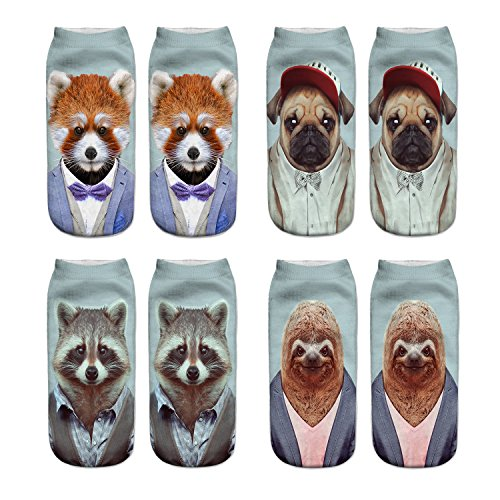 Danial Women Girls Funny Novelty Crazy Cute 3D Animals Dapper Pattern Casual Ankle Socks Value Pack (Ailurus Fulgens-dog-Palm Civet-sloth)