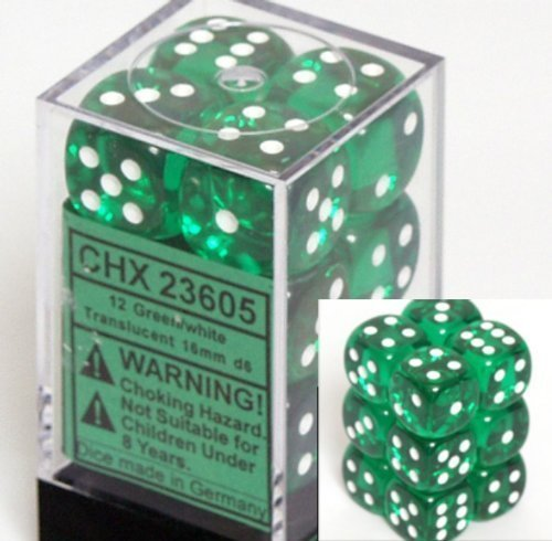 Chessex Dice d6 Sets: Green with White Translucent - 16mm Six Sided Die (12) Block of Dice (2-Pack) by Chessex