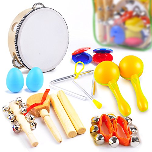 Costumes Broadway Musicals - aGreatLife Kids Musical Instruments - Percussion Starter Kit 9-Player Band Set For Developing Musical Talents