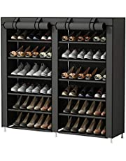 UDEAR Shoe Rack Portable Storage Free Standing Shoe Organizer with Non-Woven Fabric Cover,Grey