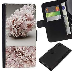 iBinBang / Flip Funda de Cuero Case Cover - Art Structure Pink Leaves - Sony Xperia Z2 D6502 D6503 D6543 L50t