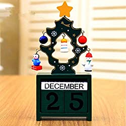 URTop 1Pcs Red/Green/White Creative Christmas Tree With Manually Small Pendants Wooden Calendar Countdown Block Clock Desk Crafts Home Furnishing Ornaments Countdown Best New Years Christmas Gifts