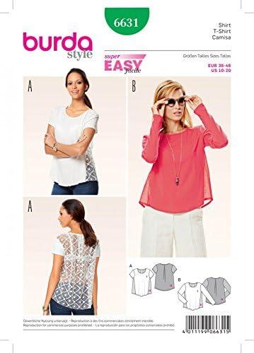 Gratuit Minerva Crafts Craft Guide Patron de couture Burda Mesdames facile 6631/Coupe ample pour femme