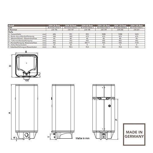 AEG 234196 DEM 30 Basis Wandspeicher 30l 246kW, offen und geschlossen