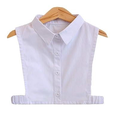 1e96041e134a5 Chemise Blanche Basic Enfant En Coton Doux Faux Col Pointu Détachable Fille  Garçons 3-7