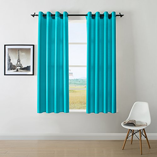 DWCN Turquoise Faux Linen Curtains for Bedroom Living Room Grommets Country Window Curtains Draperies Panel 52x63 inch Set of 2 Panels