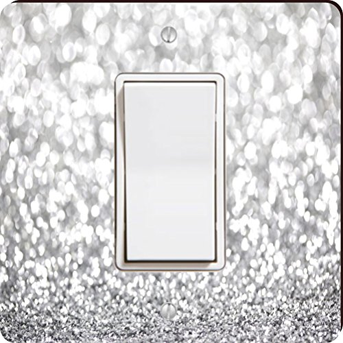 Rikki Knight 45946 Single Rocker Silver Glitter Design (Not Actual Glitter) Design Light Switch Plate -