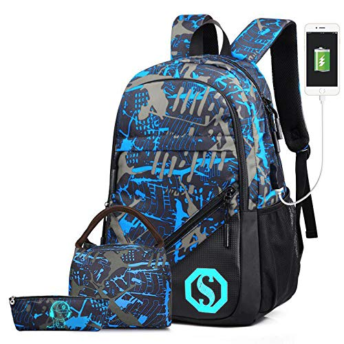 School Backpack Set, Teens Boys Bookbag with Lunch Bag and Pencil Case Laptop Bag for 14