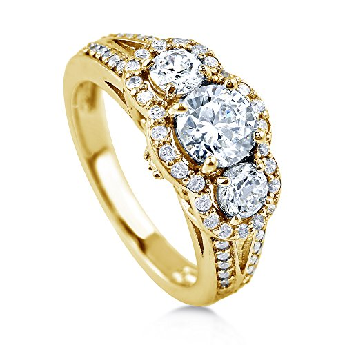 BERRICLE Yellow Gold Plated Sterling Silver Cubic Zirconia CZ 3-Stone Halo Engagement Ring Size 4 (Ring Plated Stone Gold 3)