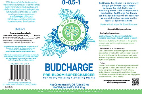 BudCharge 8oz Concentrate, Unigue Pre-Bloom, All Natural Supercharger Blooming Supplement Contains Blend of 3 Kelps, Unique Blend of Extracted Seaweeds, Transitions Plants Into Flowering