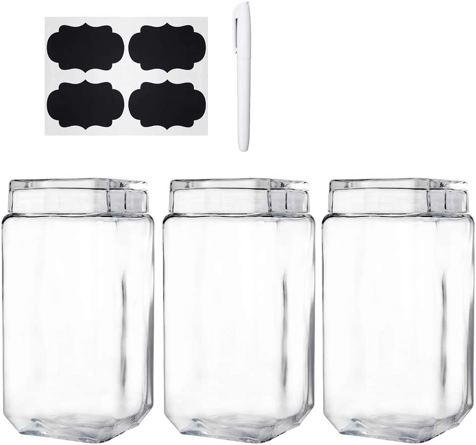 Daitouge Wide Mouth Glass Jars with Lids, 0.5 Gallon Storage Jars - Glass Canisters for Flour, Extra Free Blank Labels & Chalkboard Pen, Set of 3
