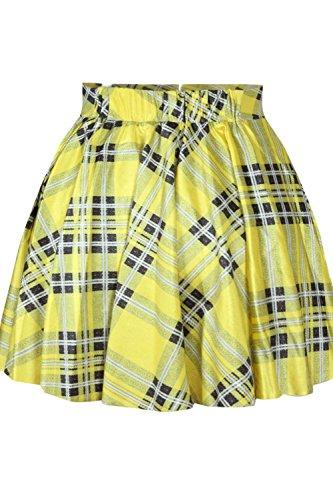NICE BUY Mini Falda Plisada para Mujer Elastico de Cintura Alta Retro Plisado Corto Mini Falda Amarillo