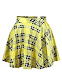 Pink Queen Womens Digital Print Stretchy Flared Pleated A-Line Skater Party Mini Skirt (Free Size, Yellow Plaid)