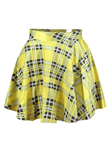 Womens Yellow Plaid Digital Print Stretchy Flared Pleated Casual Mini Skirt,OS ()