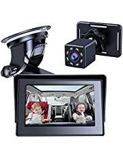 Baby Car Mirror, View Infant in Rear Facing Seat with Wide Crystal Clear View,Reusable Sucker Bracket, Camera Aimed at Baby-Easily to Observe The Baby's Every Move
