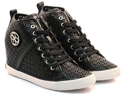 Guess Scarpe-Sneakers Alta Donna Zeppa Jillie Traforata Nero FLJIL1-ELE12