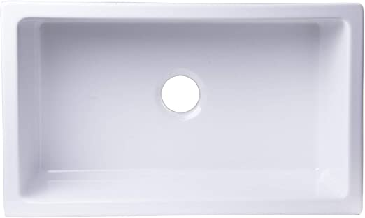 30-Inch White ALFI Brand AB3018ARCH-W Arched Apron Thick Wall Fireclay Single Bowl Farm Sink