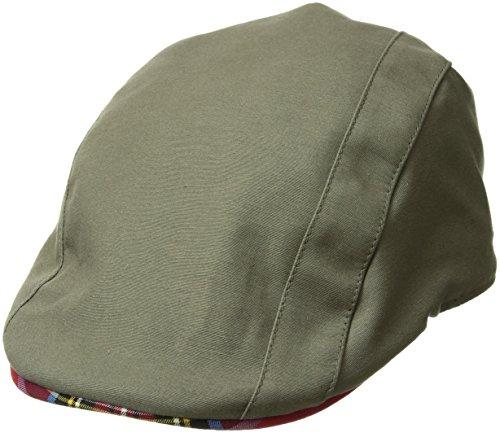 (Kangol Men's Placket Adjustable Ivy Cap with Tartan Lining and Trim, Army Green,)