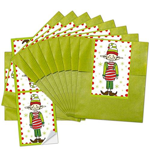 10sachets en papier cadeaux vertes (9,5x 14cm) + 10petits Rouge/blanc Manchettes de Noël Lot d'autocollants wichteln (5x 15cm) (14295) pour enfants et adultes