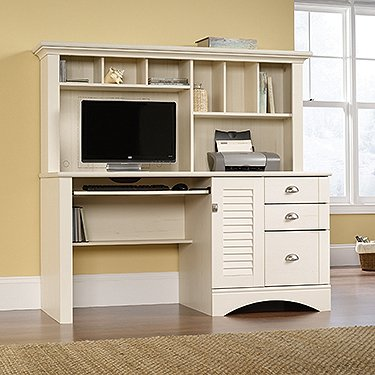 "Sauder 401634 Harbor View Computer Desk with Hutch L: 62.21"" x W: 23.50"" x H: 57.36"" Antiqued Paint Finish"