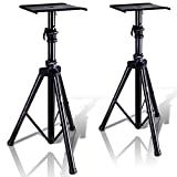"Pyle Dual Studio Monitor 2 Speaker Stand Mount Kit - Heavy Duty Tripod Pair and Adjustable Height from 34.0"" to 53.0"" w/ Metal Platform Base - Easy Mobility Safety PIN for Structural Stability PSTND32"